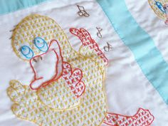 Hand Embroidered and Quilted Baby Blanket - Baby Blue with Ducks. $65.00, via Etsy.