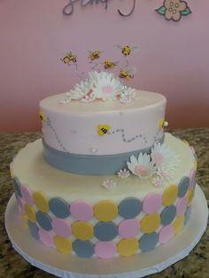Pink yellow and gray cake