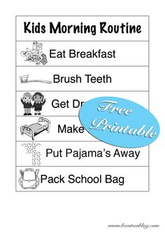 Kids Morning Routine FREE Printable available at www.beesteesblog.com Get your kids to do their bit for a less stressful morning.
