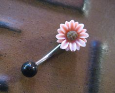 Sunflower Belly Button Jewelry Ring- Pink Black Flower Rose Floral Navel Stud Piercing Daisy Sun Flower Bar Barbell