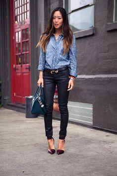 Polka Dot Denim Shirt, Skinny Jeans, Vintage Belt