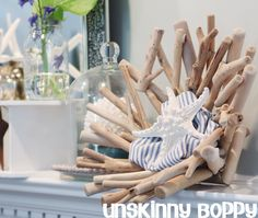 Summer Mantel with beautiful Coastal Accents  www.unskinnyboppy.com