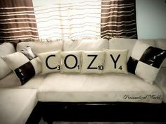 This is cute for a game room :) game rooms, movie rooms, decorative pillows, scrabbl pillow, throw pillows, live room