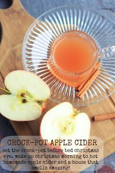 Crock-Pot Homemade Apple Cider: on Christmas Eve fill your crockpot up with chopped apples, oranges, spices, and water and crank it up to high. In the morning your crock-pot will be filled with homemade apple cider and your house will smell incredible!   bakerbettie.com