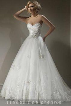 A-line Sweetheart Chiffon Lace Empire Waist Wedding Dresses