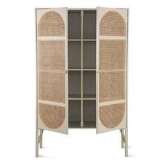 Retro webbing cabinet - light grey with shelves