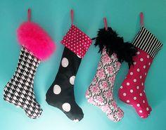 Pink and Black Damask Christmas stockings