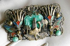 VERIFIED Max NEIGER BROTHERS of Gablonz PANORAMIC Czech Egyptian Revival Brooch