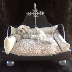 How adorable!!! MUST HAVE this dog bed. Luxurious Designer and Artist Inspired Custom Hand by YvetteRuta,