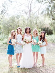 mismatched bridesmaids in cool blue and green hues / Brian LaBrada Photography