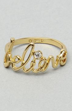 "The ""Believe"" Ring in Gold by Disney Couture Jewelry   # Pinterest++ for iPad #"