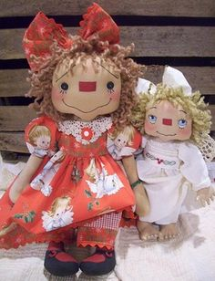 *RAGGEDY ANN ~ NannyBetty , she makes the best Annie's, I have followed her for years   Primitive Raggedy Ann Doll~Annie's Barefoot Angel~Recycled Vintage Baby Dress