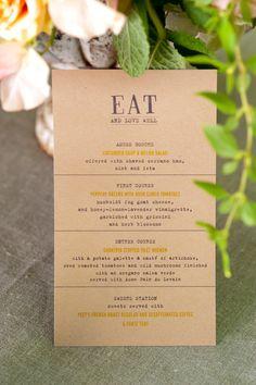 menu on kraft paper