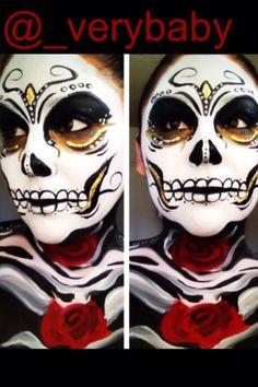 Dia de los muertos sugar skull makeup art by Very