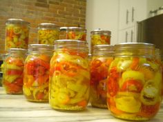 Canned pickled hot peppers recipe.
