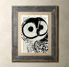 #Painting - Owl painting over old book pages