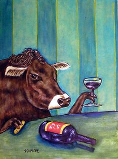 COW WINE BAR 11 x 14 in FARM ANIMAL art print picture