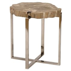 Sliced Petrified Wood Accent Table Large