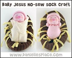 Baby Jesus in a Sock Manger no-sew Craft for Kids from www.daniellesplace.com
