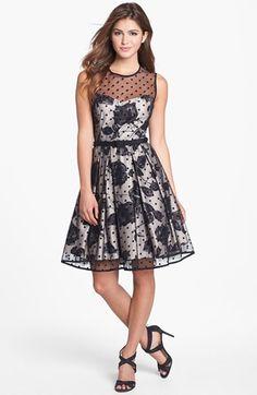 Eliza J Illusion Dot Print Fit & Flare Dress (Regular & Petite) available at #Nordstrom