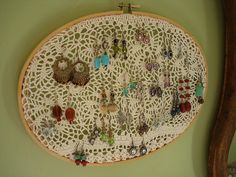 doilies earring holder embroideri hoop, doili, craft, earring holders, jewelry displays, necklace holder, picture frames, embroidery hoops, diy earrings