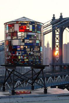 Watertower and Manhattan Bridge, by Stewart Mader in the city