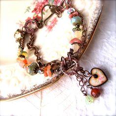 Artisan Bracelet, Gemstones, Wood Art Tile, Boho Bracelet, Heart Charm, Spring, Shabby Chic Jewelry. £46.50, via Etsy.