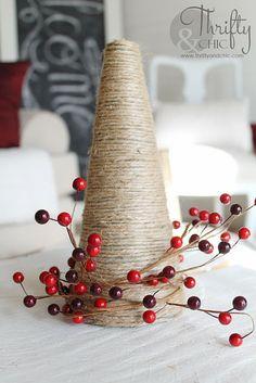 DIY Jute Christmas Tree and other christmas decorating ideas xmas trees, christma decor, christma tree, jute christma, christmas decorating ideas, christmas trees