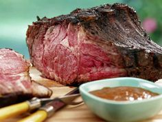 Smoked Prime Rib with Red Wine Steak Sauce from FoodNetwork.com