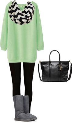 Mint green sweater, black leggings, gray boots, and black & white chevron scarf.