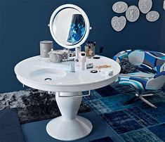 in love with this vanity-washbasin-towel rack-mirror-table!