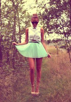 mint green skirt.