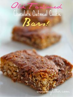 Old Fashioned Chocolate Oatmeal Cookie Bars Recipe!