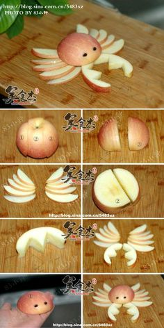 DIY Apple Crab. Cute fruit tray idea! Be sure to use citrus/acid to prevent the fruit from browning, if used for decoration. apple bento