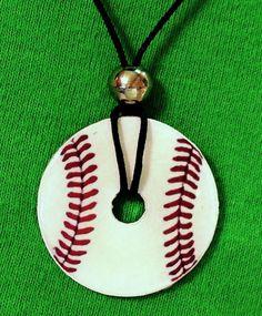 Baseball Softball Washer Pendant Necklace by ImaginePhotoCrafts, $8.50