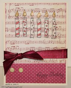 Crafty Girl 21!: Birthday Candle Cards ~Pink
