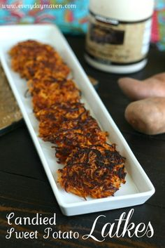 Candied Sweet Potato Latkes from www.everydaymaven.com  Candied Sweet Potato Latkes: A hybrid between two holiday classics for #Thanksgivukkah  #Paleo #EatClean #Thanksgiving #Hanukkah #GrainFree #SweetPotatoes #Latkes #NutFree