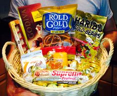 """Basket of """"gold"""" for a Golden Birthday gift (when you turn the age of the date of your birthday, ie 28 years old on Aug 28) golden birthday gifts, old age gift baskets, birthday giveaway, gift idea"""