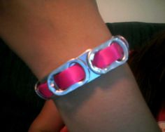 Pop Can Tab Bracelet--pre-paint tabs red and use green or white ribbon.