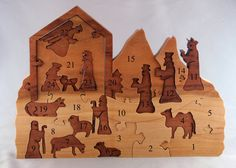 Nativity Advent Calendar wooden puzzle by woodencreations on Etsy