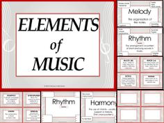 ELEMENTS of Music: use this as a teaching resource (student note-taking sheets included) and as Word Wall Cards. Excellent for the music classroom.
