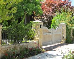 mediterranean homes, stone walls, driveway entrance, hous, gates, spanish style, garden, fence design, driveway gate