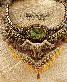 Owl - Necklace Bead Embroidery Art via Etsy