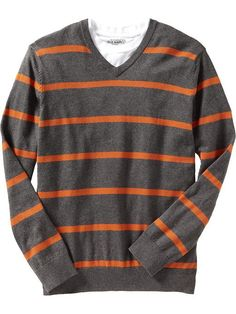 Old Navy | Men's Striped Lightweight V-Neck Sweaters