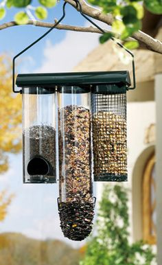 Hanging Birdfeeder With Three Separate Feeders, at Collections, etc.
