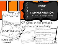 October Code+Comprehension Pack (QR Code Listening Centers) from Giggles and Glue Sticks on TeachersNotebook.com -  (39 pages)  - A new spin on QR code listening centers with the code on the comprehension printable! Save ink and time!
