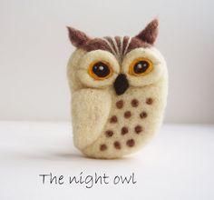 Felted Owl Brooch Wool Felted Jewelry Night Owl by ShishLOOKdesign, $20.00