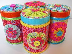 recycled tins  (could this be adapted for coffee cans? I think yes)