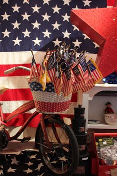 Monticello Antique Marketplace use new bike and add flags