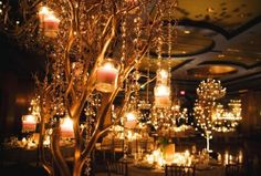 Gold manzanita branches with suspended candles